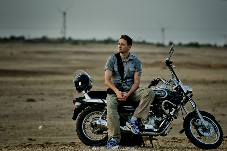 dmitri with motorcycle in India